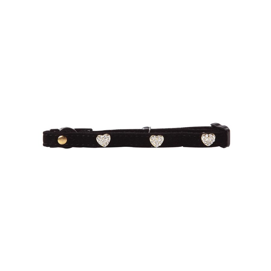 ANIMAL HOUSE HOSPITAL - PRODUCTS PAWISE CAT COLLAR DIAMOND HEART BLACK