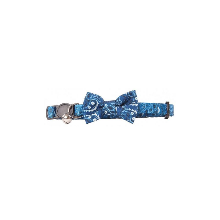 ANIMAL HOUSE HOSPITAL - PRODUCTS PAWISE CAT COLLAR WBOWKNOT BLUE