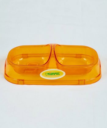 ANIMAL HOUSE HOSPITAL - PRODUCTS PET LOVE DOUBLE SMALL BOWL ORANGE